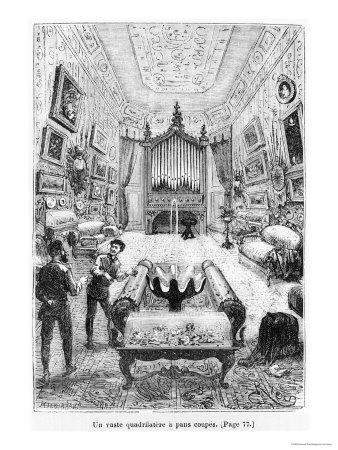 """Interior of the Nautilus, Illustration from """"20,000 Leagues under the Sea"""""""
