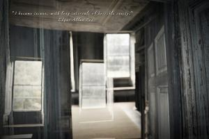 Double Exposure of Room Inside an Old Plantation Home in Charleston, SC with Edgar Allan Poe Quote