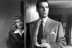 DOUBLE INDEMNITY, 1944 directed by BILLY WILDER Barbara Stanwyck and Fred McMurray (b/w photo)