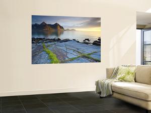 Coastal Landscape Illuminated by Mightnight Sun, Flakstad, Flakstadsoya, Lofoten, Norway by Doug Pearson
