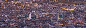 Elevated View across the Old Medina of Fes Illuminated at Dusk by Doug Pearson