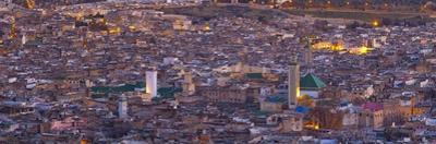 Elevated View across the Old Medina of Fes Illuminated at Dusk