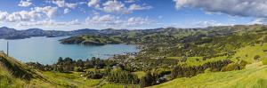 Elevated View over Akaroa, Banks Peninsular, Canterbury, South Island, New Zealand by Doug Pearson