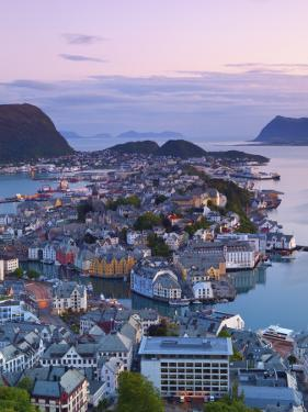 Elevated View over Alesund at Dusk, Sunnmore, More Og Romsdal, Norway by Doug Pearson