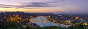 Elevated View over Budapest and the River Danube Illuminated at Sunset, Budapest, Hungary by Doug Pearson