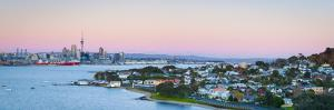 Elevated View over Devenport Towards Cbd Illuminated at Dawn, Auckland, New Zealand by Doug Pearson