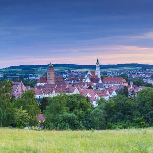 Elevated View over Donauworth Old Town Illuminated at Sunset, Donauworth, Swabia, Bavaria, Germany by Doug Pearson