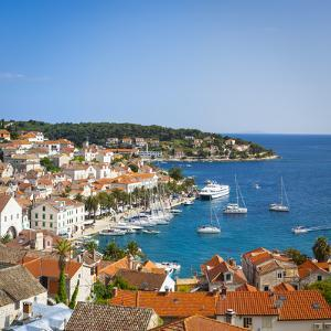 Elevated View over Hvar's Picturesque Harbour, Stari Grad (Old Town), Hvar, Dalmatia, Croatia by Doug Pearson