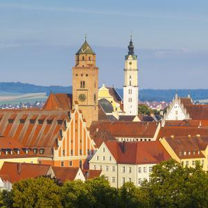 Elevated View over Old Town Church Spires, Donauworth, Swabia, Bavaria, Germany by Doug Pearson