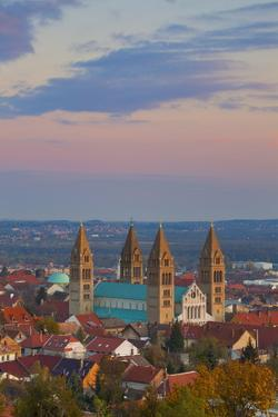 Elevated View over the Pecs Cathedral at Sunset, Pecs, Hungary, Europe by Doug Pearson