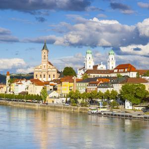 Elevated View Towards the Picturesque City of Passau, Passau, Lower Bavaria, Bavaria, Germany by Doug Pearson