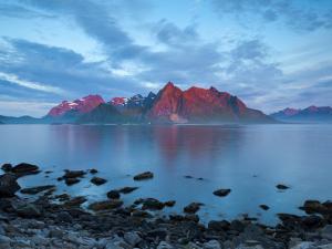 Flakstad Mountain Range Illuminated by Midnight Sun, Lofoten Islands, Norway by Doug Pearson