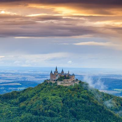 Hohenzollern Castle and Surrounding Countryside at Sunrise, Swabia, Baden Wuerttemberg