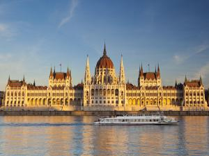 Hungarian Parliament Building and River Danube, Budapest, Hungary by Doug Pearson