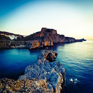 Lindos Acropolis and Harbour, Lindos, Rhodes, Greece by Doug Pearson
