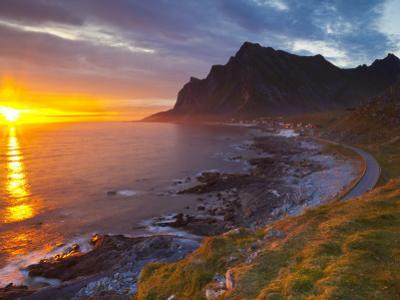 Mightnight Sun over Dramatic Coastal Landscape, Vikten, Flakstadsoya, Lofoten, Norway by Doug Pearson