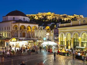 Monastiraki Square and Acropolis, Monastiraki, Athens, Greece by Doug Pearson