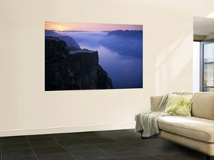 Preikestolen (Pulpit Rock) at Sunset, Lysefjorden, Norway by Doug Pearson