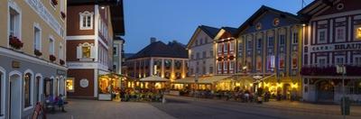 Restaurants in Market Square Illuminated at Dusk, Mondsee, Mondsee Lake
