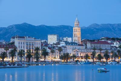 St. Domnius Cathedral Bell Tower and Stari Grad Illuminated, Split, Central Dalmatia, Croatia