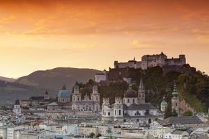 Sunrise over Hohensalzburg Fortress and Alt Stadt, Salzburg, Salzburger Land, Austria, Europe by Doug Pearson