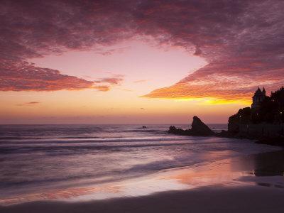 Sunset over Surfers, Biarritz, Pyrenees Atlantiques, Aquitaine, France