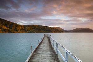 Sunset over Wharf in Idyllic Kenepuru Sound, Marlborough Sounds, South Island, New Zealand by Doug Pearson