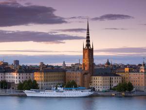 Sunset, Riddarholmen and Gamla Stan, Stockholm, Sweden by Doug Pearson