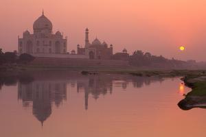 Taj Mahal Reflected in the Yamuna River at Sunset by Doug Pearson