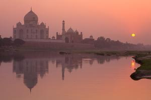 Taj Mahal Reflected in the Yamuna River at Sunset by Doug Pearson