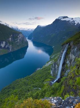 The Majestic Geiranger Fjord Illuminated at Dusk, Geiranger, More Og Romsdal, Norway by Doug Pearson