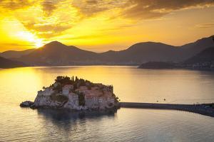 The Picturesque Island Village of Sveti Stephan Illuminated at Sunset, Sveti Stephan, Montenegro by Doug Pearson