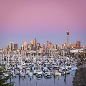 Westhaven Marina and City Skyline Illuminated at Dusk, Waitemata Harbour, Auckland, New Zealand by Doug Pearson