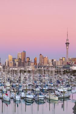 Westhaven Marina and City Skyline Illuminated at Dusk by Doug Pearson