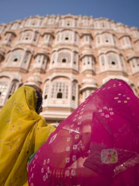 Young Women in Traditional Dress, Palace of the Winds, Jaipur, Rajasthan, India by Doug Pearson