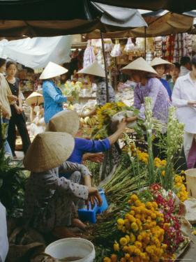 Flower Stall in Southern Delta Village of Mytho, Vietnam, Indochina, Southeast Asia by Doug Traverso