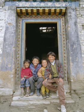 Group of Children from Village, Chedadong, Tibet, China by Doug Traverso