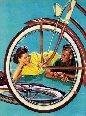 """Bicycle Ride,"" August 16, 1941 by Douglas Crockwell"