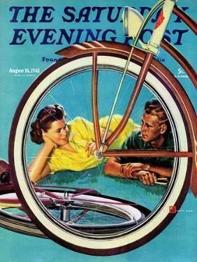 """""""Bicycle Ride,"""" Saturday Evening Post Cover, August 16, 1941 by Douglas Crockwell"""