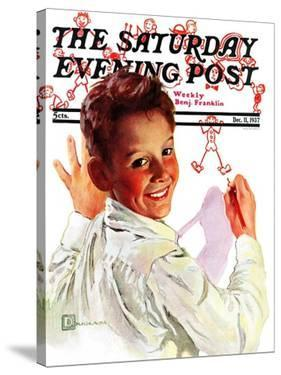 """""""Boy Drawing Stick Figures,"""" Saturday Evening Post Cover, December 11, 1937 by Douglas Crockwell"""