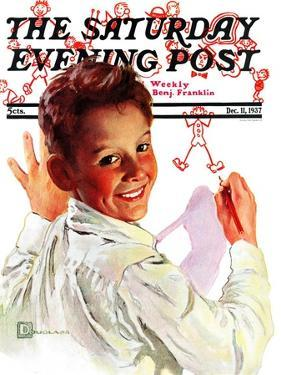 """Boy Drawing Stick Figures,"" Saturday Evening Post Cover, December 11, 1937 by Douglas Crockwell"