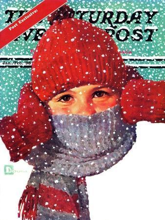 """Bundled Up,"" Saturday Evening Post Cover, Jan/Feb 98"