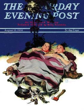 """Camping Out,"" Saturday Evening Post Cover, August 13, 1938 by Douglas Crockwell"