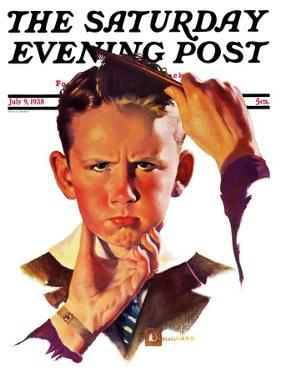 """Combing His Hair,"" Saturday Evening Post Cover, July 9, 1938 by Douglas Crockwell"