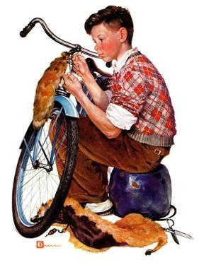 """Decorating His Bike,""March 20, 1937 by Douglas Crockwell"
