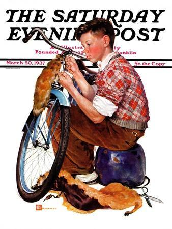 """""""Decorating His Bike,"""" Saturday Evening Post Cover, March 20, 1937"""