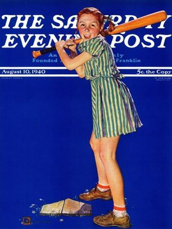 """Girl at Bat,"" Saturday Evening Post Cover, August 10, 1940 by Douglas Crockwell"