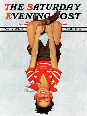 """Hanging Upside Down,"" Saturday Evening Post Cover, April 20, 1940 by Douglas Crockwell"
