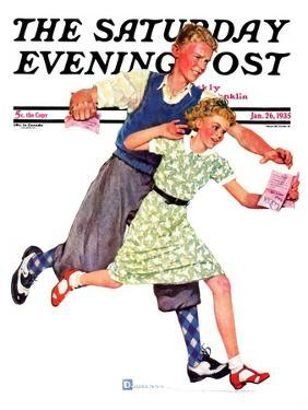 """""""Love Letter,"""" Saturday Evening Post Cover, January 26, 1935 by Douglas Crockwell"""