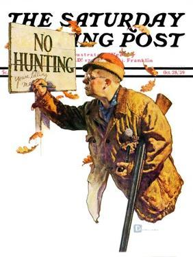 """""""'No Hunting',"""" Saturday Evening Post Cover, October 28, 1939 by Douglas Crockwell"""